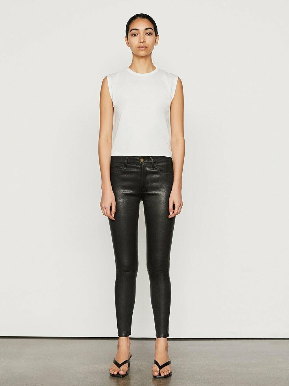 FRAME Le Skinny De Jeanne Leather - Washed Black