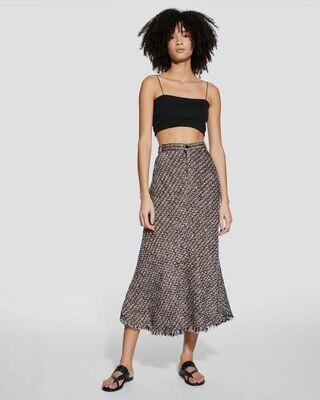 IRO Camden Multicolor Tweed Knit Midi Skirt