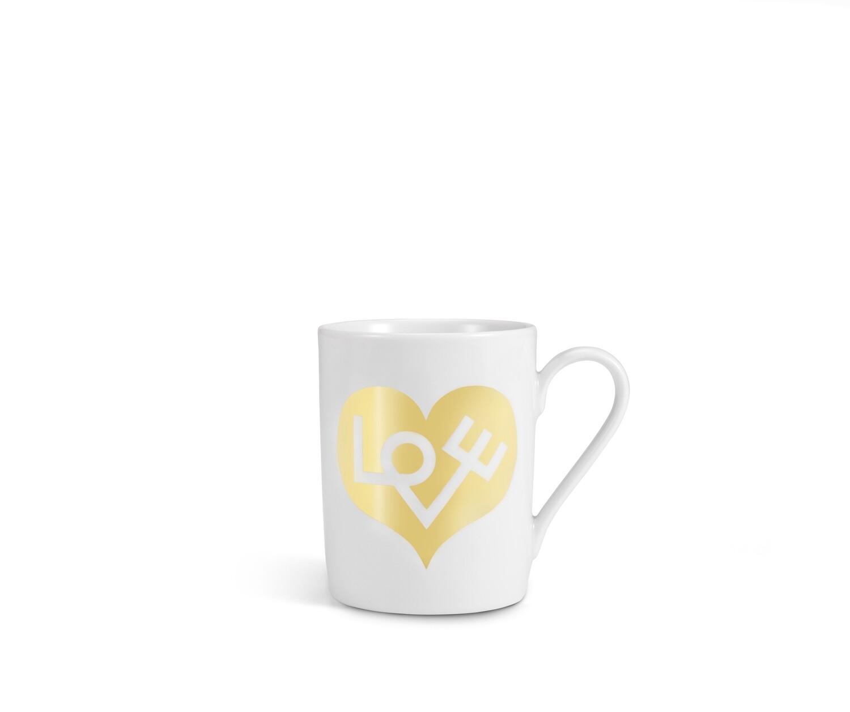 Coffee mugs Love Heart, gold