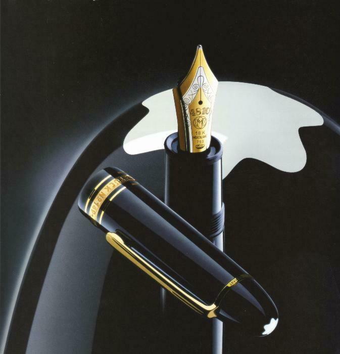 Fountain Pen+ink - Meisterstück Resin Gold Coated 149 - 18k + Ink Bottle