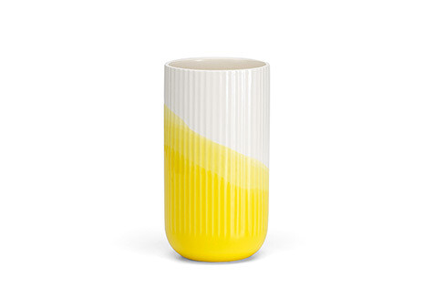 Herringbone vase ribbed yellow