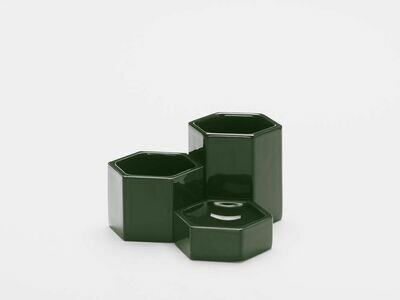 Hexagonal container dark green set 3