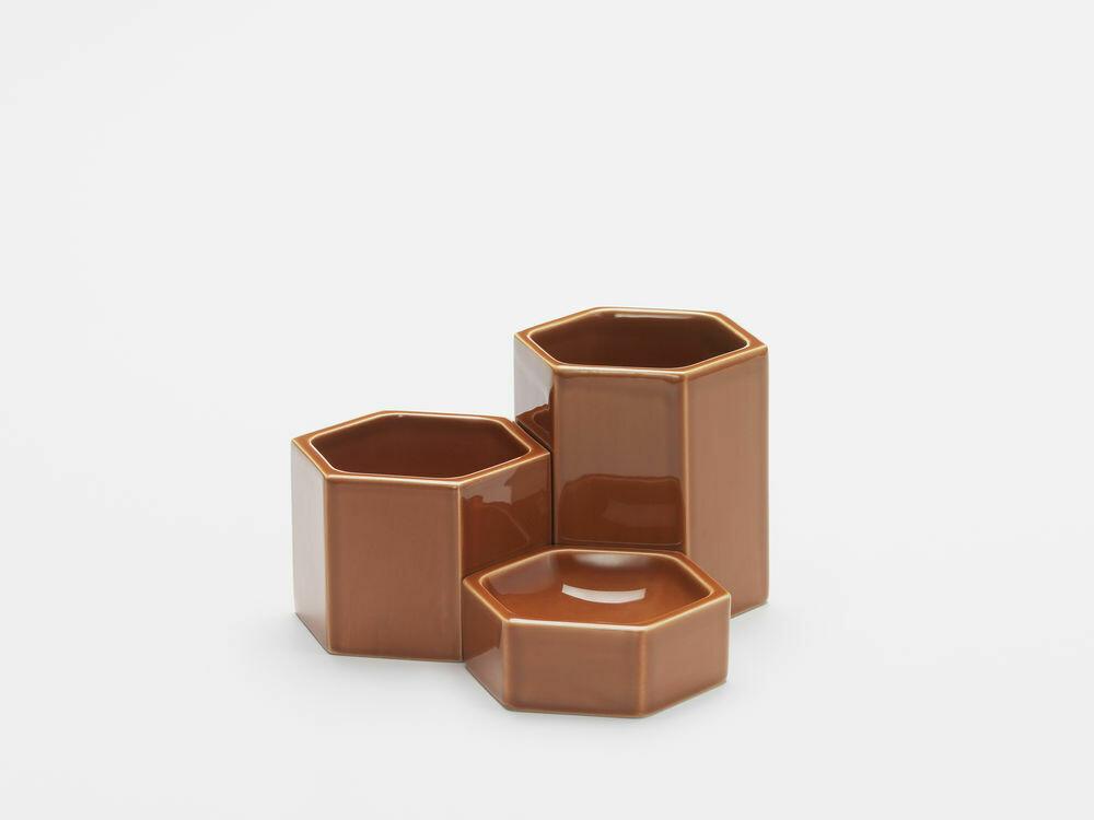 Hexagonal containers rusty orange set 3