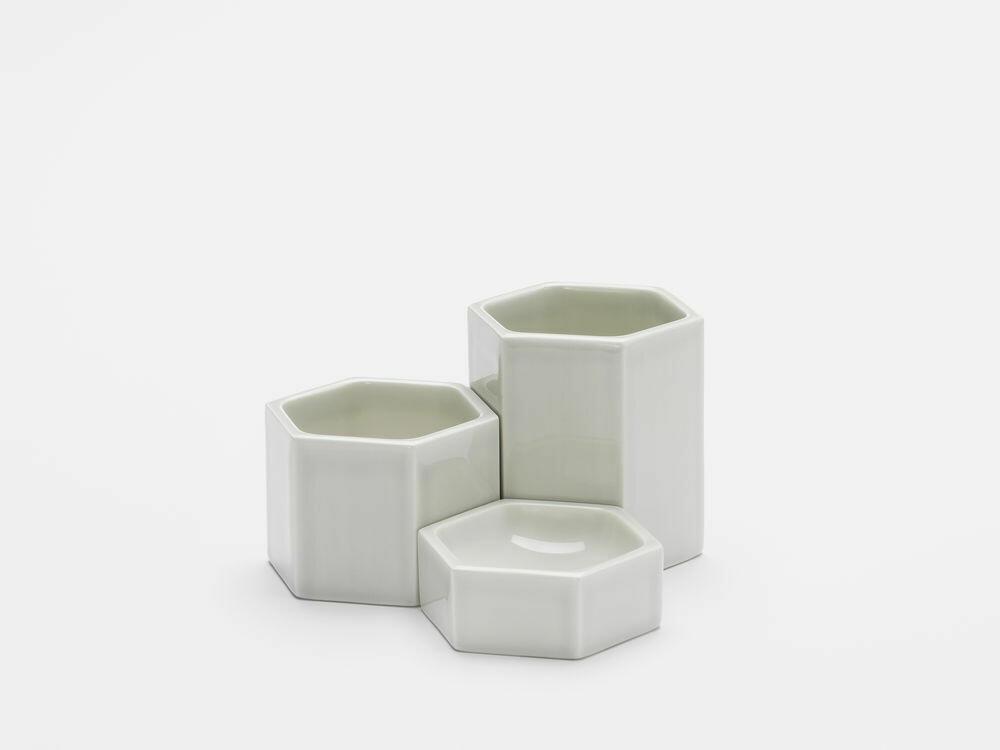 Hexagonal containers light grey set 3