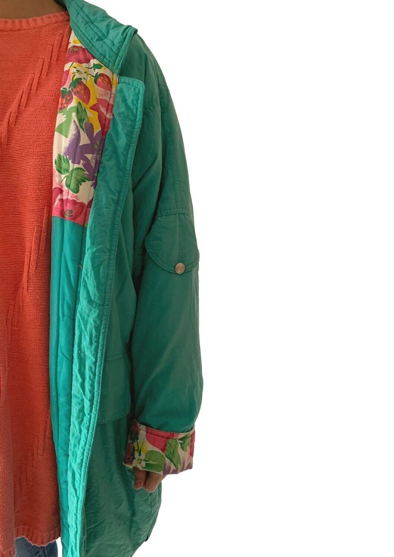 Zelena cvjetna jakna