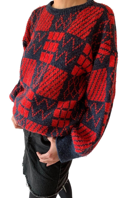 Crveno-plavi džemper