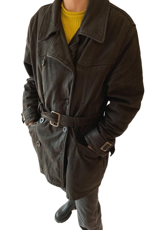 Kožna duga jakna s remenom
