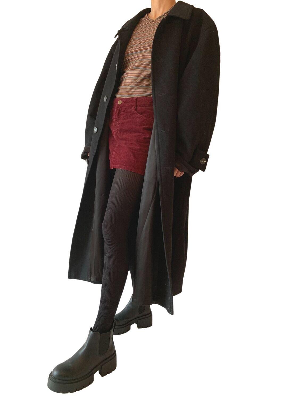 Crni unisex vuneni kaput