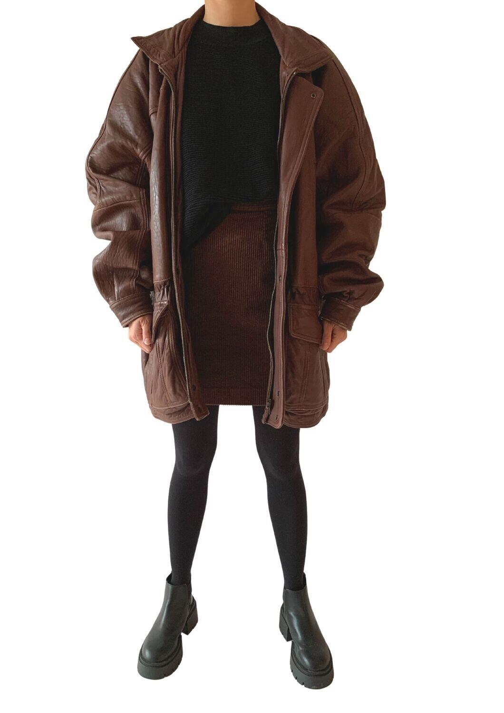 Smeđa unisex kožna jakna