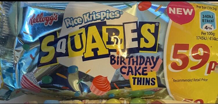 Rice Krispies Birthday Cake Thins X 3