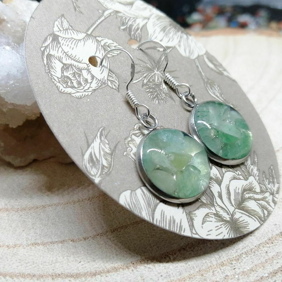 Green Aventurine Gemstone Chip Earrings