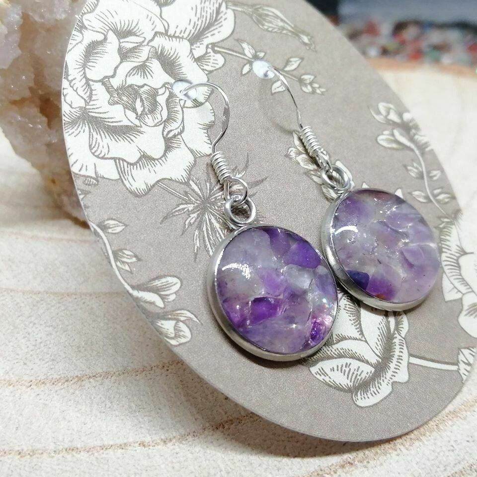 Lavender Amethyst Gemstone Chip Earrings