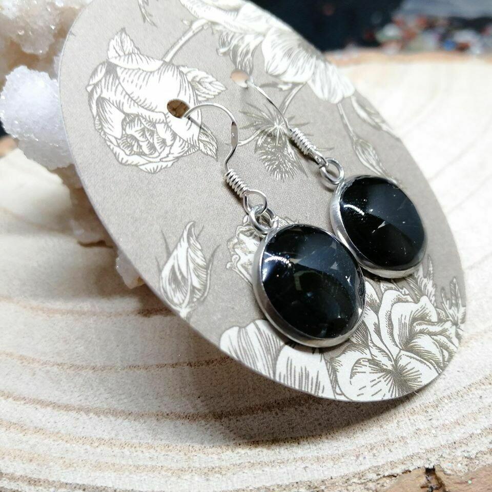 Black Obsidian Gemstone Chip Earrings