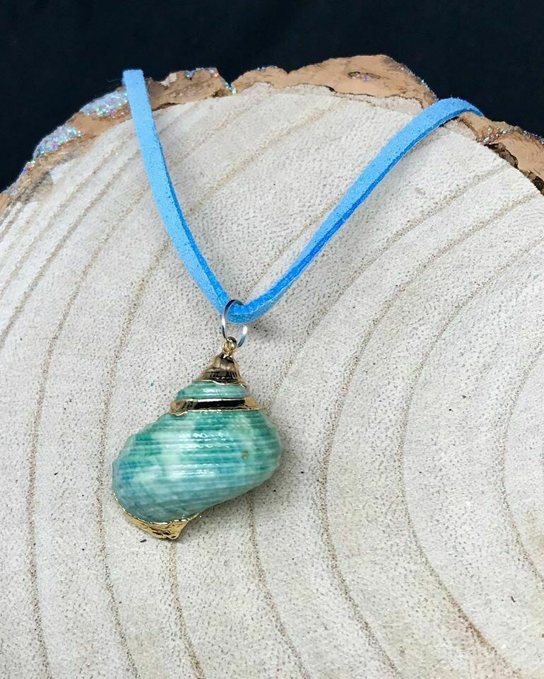 "Periwinkle Shell with Blue Faux Suede 20"" Necklace"