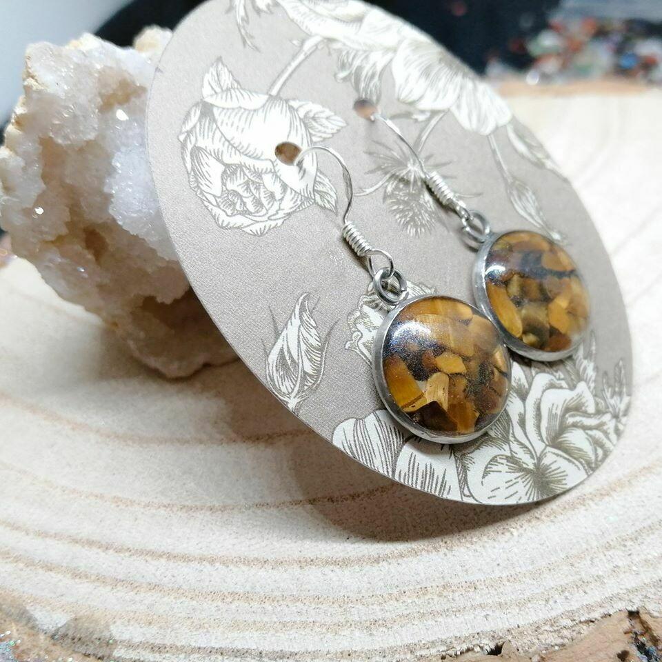 Tigers Eye Gemstone Chip Earrings
