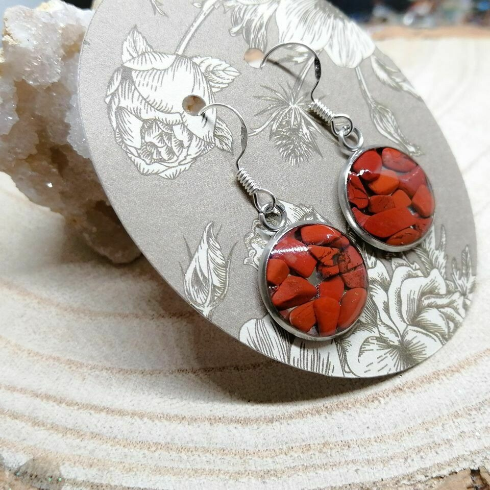 Red Jasper Gemstone Chip Earrings