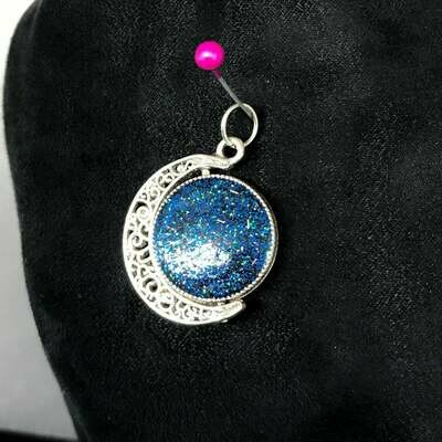 Antique Silver Spinning Moon Pendant
