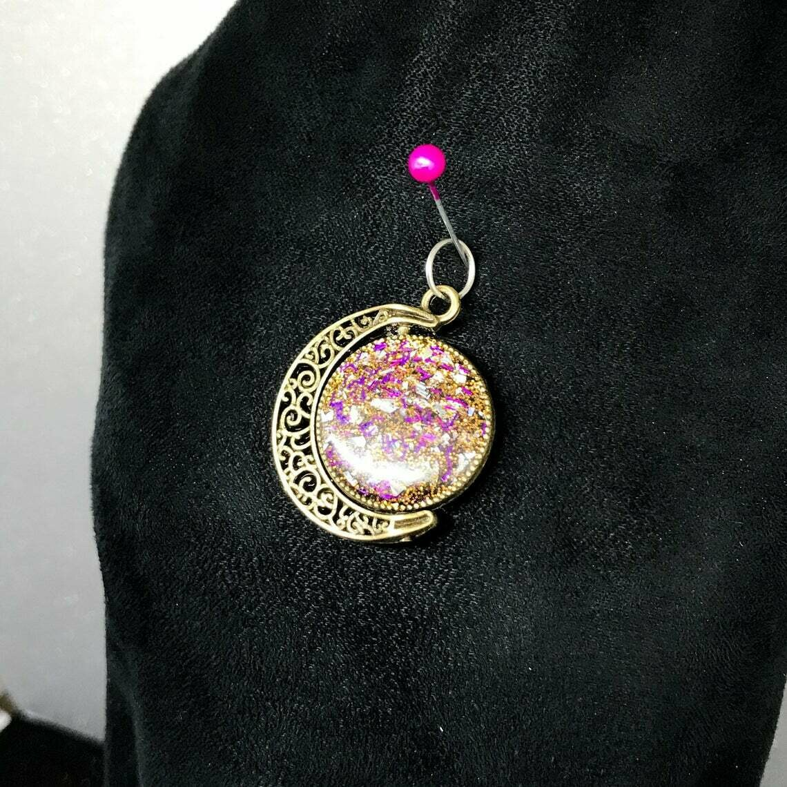 Antique Gold Spinning Moon Pendant