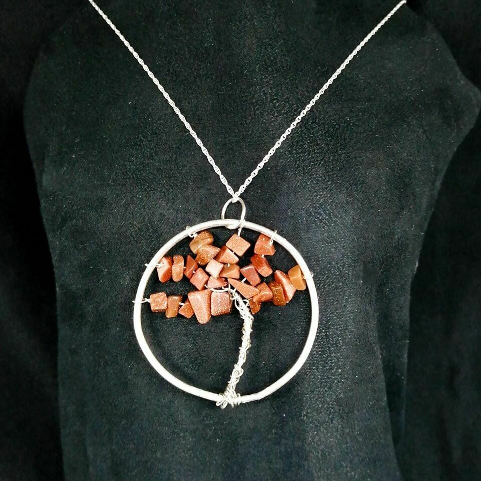 Tree of Life Goldstone Pendant