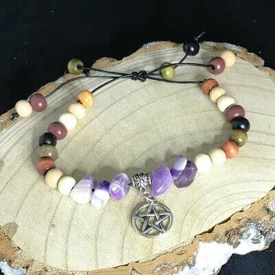 Banded Amethyst Gemstone Pentacle Cord Bracelet