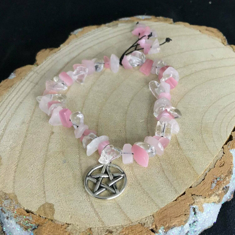 Rose and Milky Quartz Gemstone Cord Pentacle Bracelet