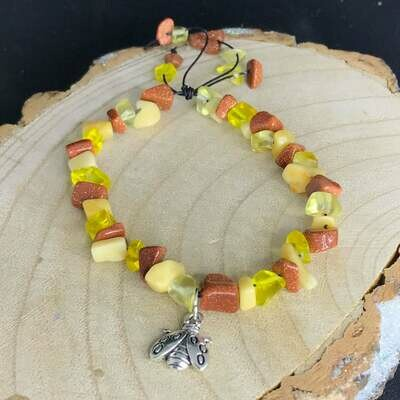 Citrine and Goldstone Gemstone Cord Ladybug Bracelet