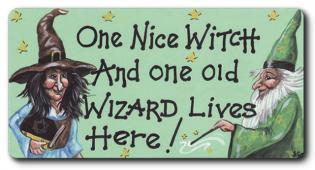 One Nice Witch and one old Wizard Lives here Fridge Magnet