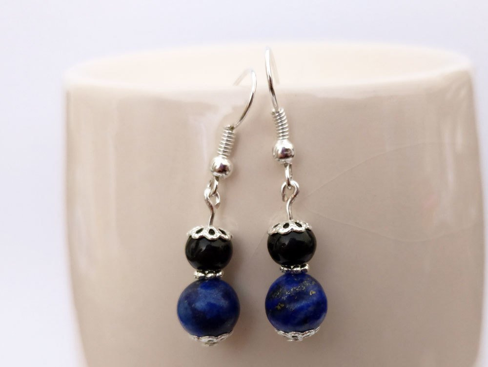 Lapiz Lazuli and Black Onyx Round Beads Dangle Earrings