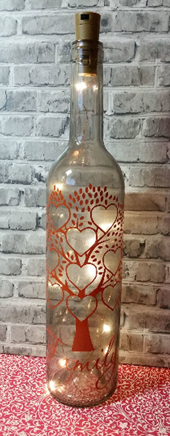 Family Tree for 9 - Wine Bottle, light block decal. Easy Weed-Read description