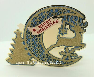 Deer Christmas Card Moon Shape