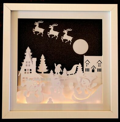 Snowman Christmas Scene - Multi layered & suitable for Shadow Box frame