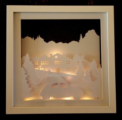 Red Car Driving Home for Christmas Scene - Multi layered & suitable for Shadow Box frame