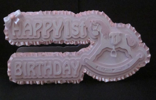 Rocking horse 3D Card Template 1st birthday