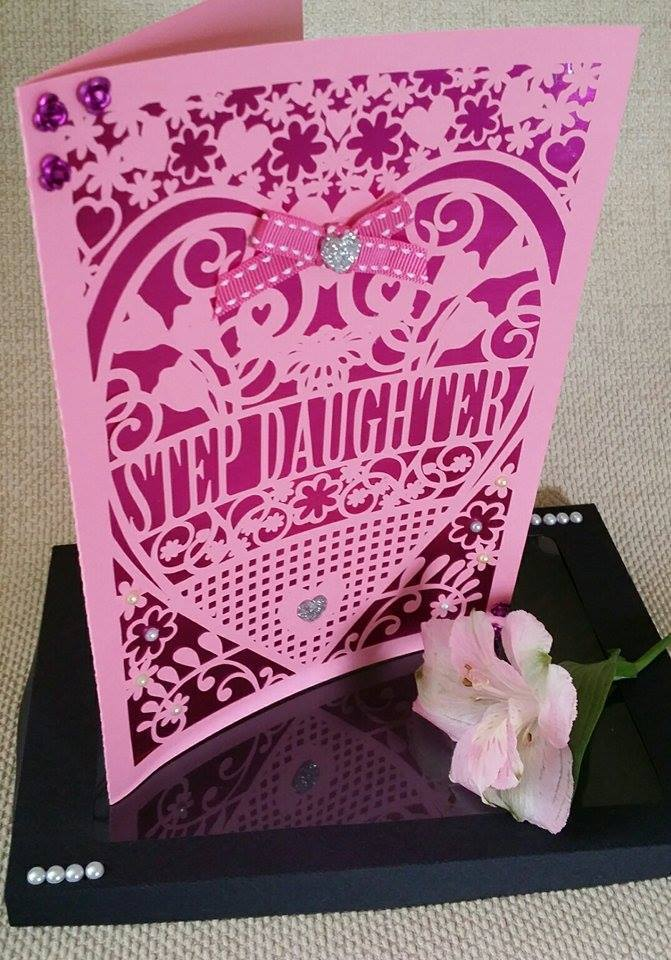 Step Daughter  Birthday Card (with box)  beautiful cutout design