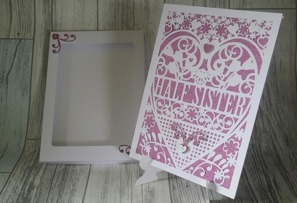 Half Sister Birthday Card (with box)  beautiful cutout design.