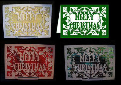 Card Template Merry Christmas and Holly 3 svg /  fcm