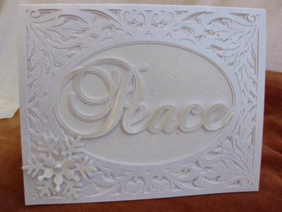 Christmas Card Template - Peace in a pretty frame setting 2 layered FCM