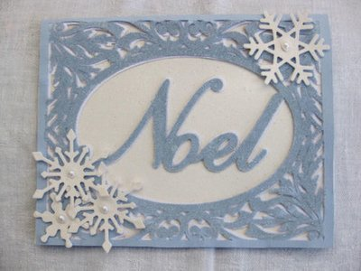 Christmas Card FCM Template - Noel in a pretty frame setting 2 layered