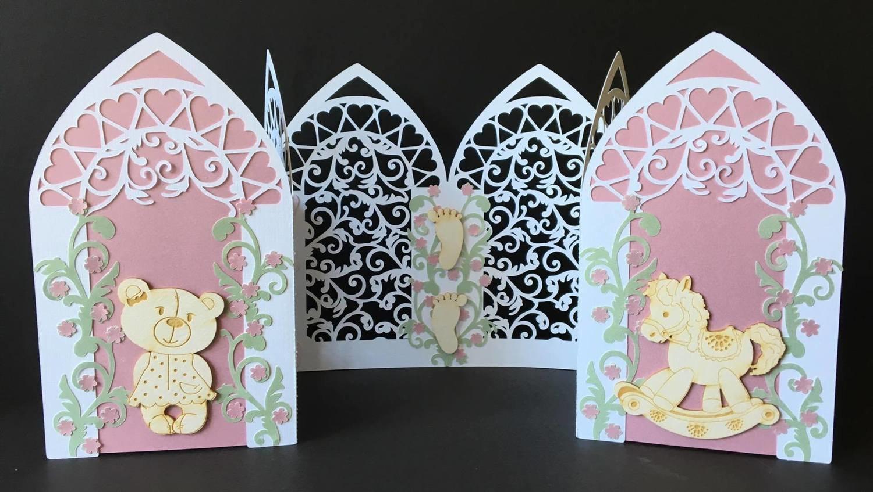 Triple Arch fold card with Filigree  FCM