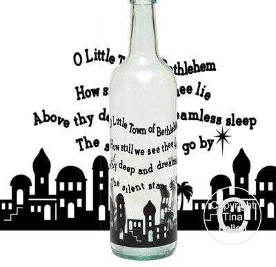 Little Town of Bethlehem Christmas Wine bottle vinyl decor  Commercial use see description