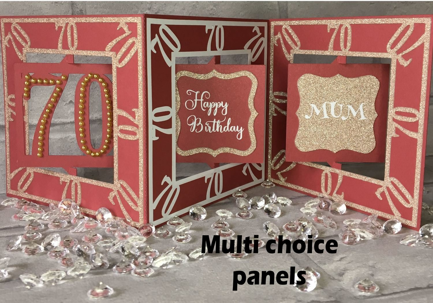 70th Birthday Card  Accordian style with optional multi decor panels