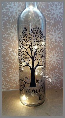 Family Tree for 4 - Wine Bottle, light block decal. Easy Weed -Read description.