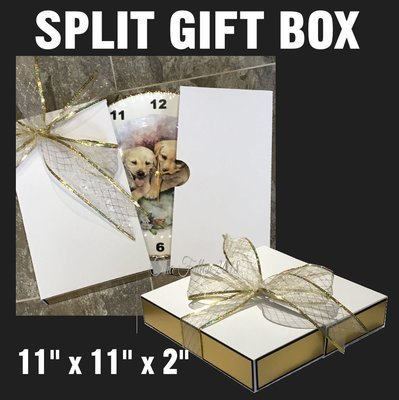 LARGE SPLIT GIFT BOX  IDEAL FOR PLATES COMES SIZED 11 X 11 X 2 INCHES