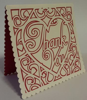 Heart Swirls Thank You  card template