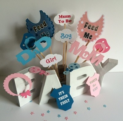 Baby Shower, Birth  party photo props set A