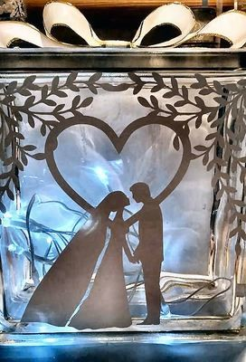 Wedding - Bride and Groom under tree for approx 7x7 glass block