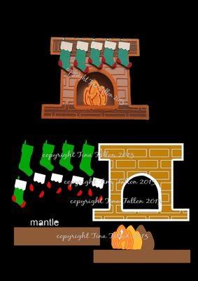 Card Template Christmas Fireplace