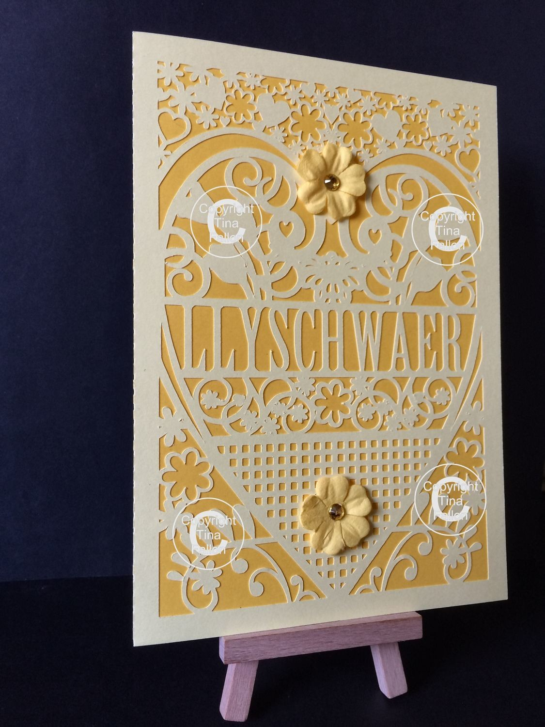 STEPSISTER Welsh Card (with box)  beautiful cutout design.