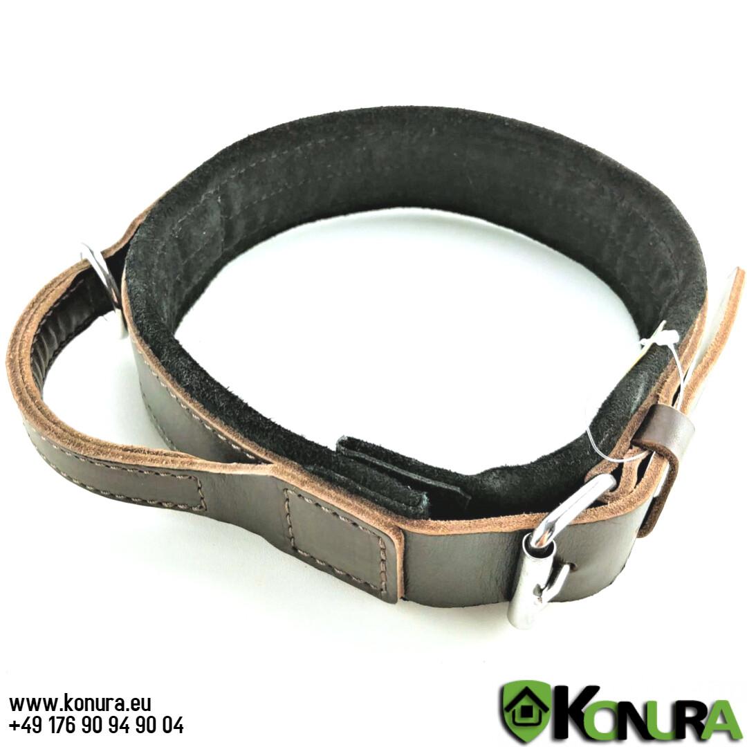 Lederhalsband mit Griff mit Wildlederfutter Klin Kassel