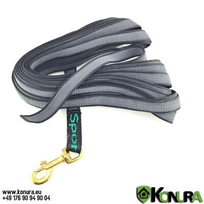 Длинный 5 или 10 м спортивный поводок из прорезиненной стропы Klin Kassel